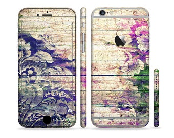The Abstract Color Floral Painted Wood Planks Art Six-Piece Sectioned Series Skin Set for the Apple iPhone 6 or 6 Plus