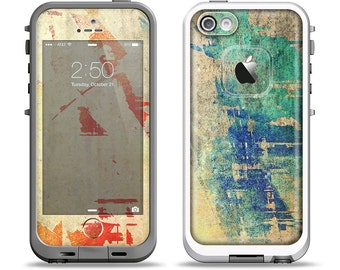 The Grunge Multicolor Textured Surface Apple iPhone LifeProof Case Skin Set