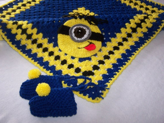 Hand Crocheted Minion Granny Square Baby Blanket/ Afghan plus