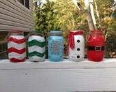 Your Choice  24oz  Mint Candy Filled Holiday Mason Jar. Snowman, Santa, Snowflake, Chevron Mason Jar.