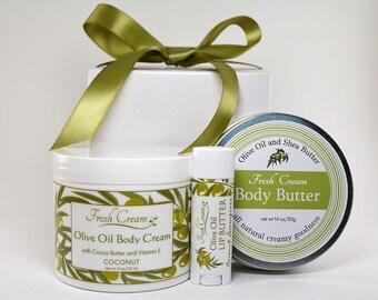 Gift Box, Coconut Fragrant Body Cream, Coconut Lemongrass Flavored Lip Butter and Shea & Olive Oil Body Butter