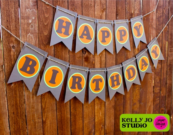 Fall Themed Happy Birthday Banner Orange Brown & Green