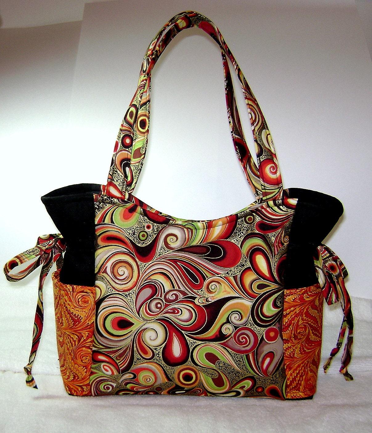 Fabric Handbag Handmade Swirl Fabrics Artsy Art Purse - photo#25