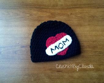 Crochet Mom Tattoo Beanie/ Tattoo Beanie/ Mom Beanie/Made to Order
