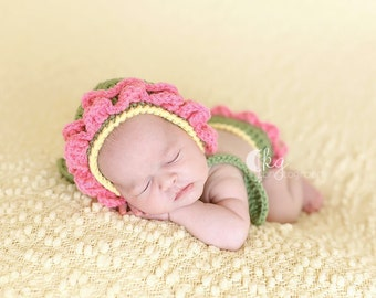 Newborn To Three Month Flower Baby Bonnet and Diaper Cover