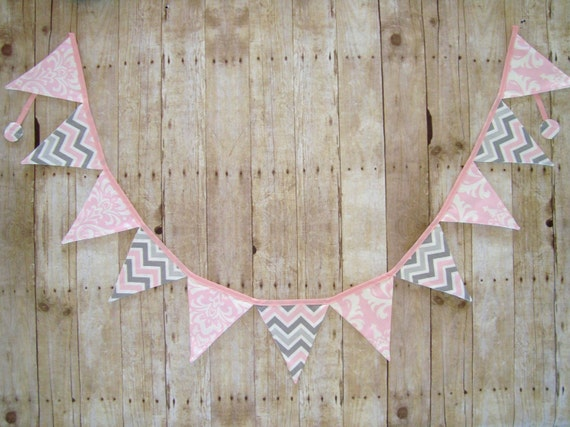 Pink damask Banner / Pink and Grey chevron / Party banner / baby shower banner /  Photo prop / wedding banner / pink and grey banner