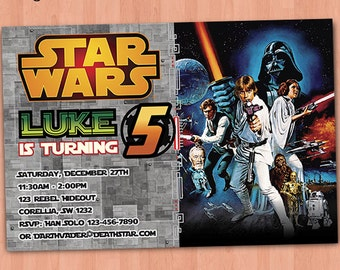 Star Wars Invitation, Star Wars Birthday Invitation, Star Wars Party Invitation, Star Wars Movie Invitation, Luke Han Solo Leia Darth Vader