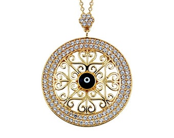 Evil Eye Pendant 14k Solid Gold Enameled Necklace Ottoman Style