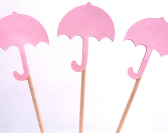 24 Pink Umbrella Baby Shower Toothpick Cupcake Toppers, Food Picks, Theme Party Picks