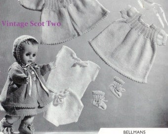 Bellmans 271 -3ply Dolls Clothes 3 sizes 11-15ins  PDF of Vintage Knitting Patterns