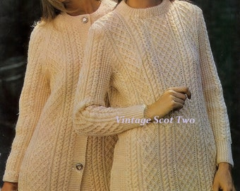 LADIES Aran DK 8plyLight Worsted  Sweater Dress  and Coat Sizes:  32 to 42ins   Vintage Knitting Pattern