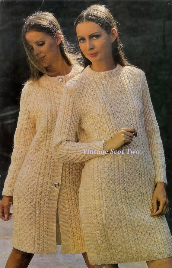 Aran Jumper Dress Knitting Pattern : LADIES Aran DK 8plyLight Worsted Sweater Dress and Coat