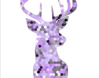 Deer head print deer antler art wall art unframed poster grey purple bedroom decor black and white art geometric art wall decor hexagon art