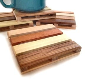 Beverage Pallet Drink Coaster - Coffee Coaster - 4 Coaster Set - made of a wide variety of reclaimed woods