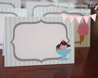 Ice Cream Parlor Collection:  Pink and Mint Green Tent Cards