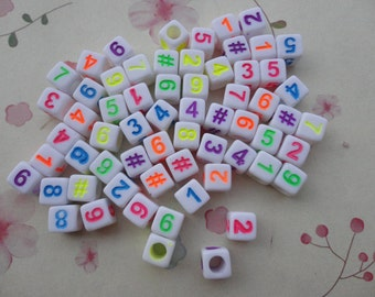 100pcs 6mm number square bead,mixed color number bead--plastic number bead--acrylic number bead--BW27