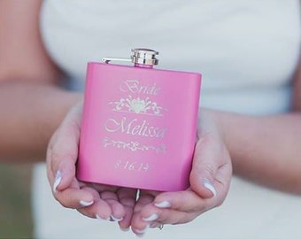 1, Personalized Bridesmaid Gifts, Maid of Honor Gift, Bridesmaid Flask, Pink Flask, Wedding Gift for Bridesmaids, 6oz Hip Flask