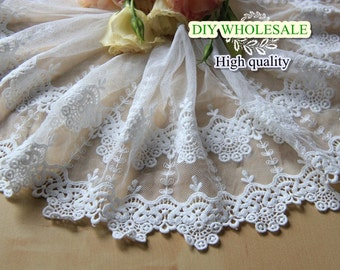 White Lace Trim ,Scalloped Lace Fabric Trim, Embroidery Lace Trim 1 yards