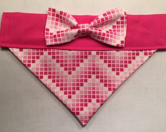 Dog Bandana - Pixelated Pink Chevron Print with Bow