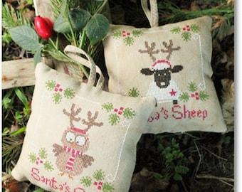 Santa's Owl & Sheep - Cross Stitch Pattern