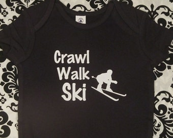 Ski baby shirt  skiing infant clothes outfit ski baby  shower gift one piece bodysuit baby boy girl snapsuit