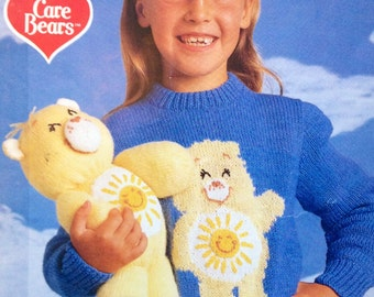care bears knitting pattern toys and childrens jumpers vintage 1980s dk yarn