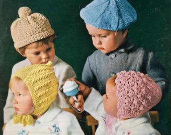 vintage knitting pattern PDF toddler hats for boys and girls pixie bonnet beret bonnet pompom hat