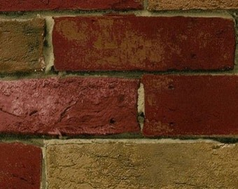 Wallpaper - Deep Red and Tan Realistic Brick Wall - Country, Rustic, Loft, Bistro, Cafe, Industrial - By The Yard -  BG21586 so