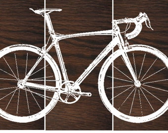 Superieur Road Bike / Street Bike Wall Art / Bicycle Screen Print / Wood Painting Wall  Art