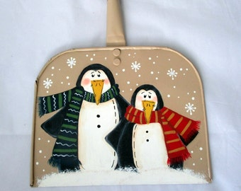 Penguin Wall Hanging, christmas decor, penguin decor, wood crafts, tole painting, wall art, holiday decor, hand painted penguin
