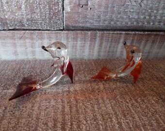 Handblown Glass Dolphin Figurine Pair