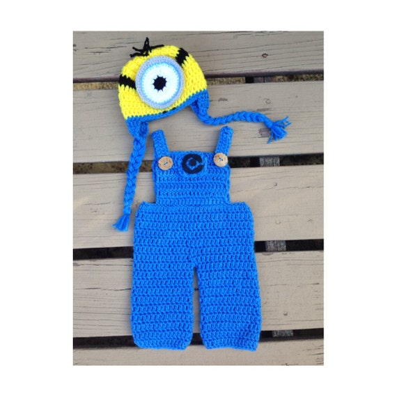 Crochet Patterns For Baby Overalls : Crochet minion inspired outfit unisex baby costume by ...