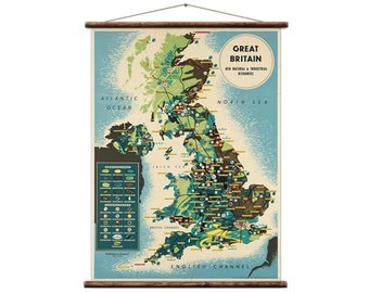 Great Britain, her natural and industrial resources - Pull Down Wall Map