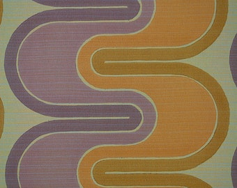ICONIC 1960S 70s Vintage Original MINIMALIST GEOMETRIC Purple wave Wallpaper