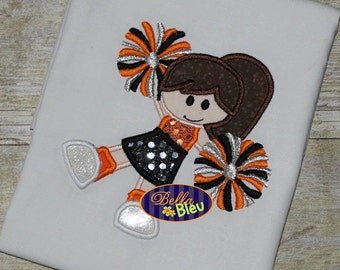 Adorable Cheerleader with Pom Poms Applique Embroidery Design Cheerleading