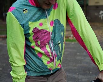 CRAZY SALE - 80s GIESSEGI Cyclist Jacket. Bicycle Bike Wear / Fixed-gear Fixie / Neon Vibrant / Italy Giessegi di Si. Fraccaro & C