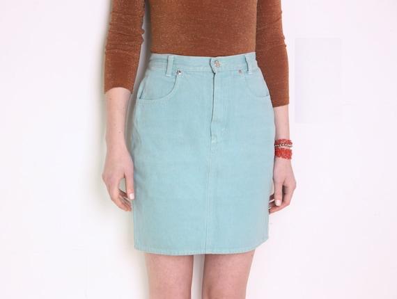 90 s benetton denim pencil skirt high waisted light gray