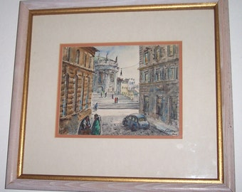 """H.M.Gasser Original Watercolor Painting In """"Rome"""" Signed By the Artist- Professionally Framed"""