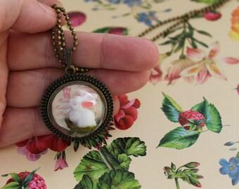 Half Globe Glass Necklace,Resin Rabbit in a Half Globe Glass Pendant,Antique Bronze Pendant Nacklace