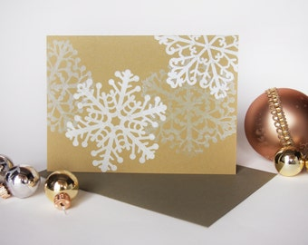 Snowflakes - letterpress holiday greeting card - single