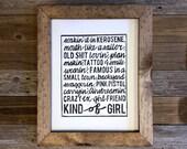 Wall Decor / Miranda Lambert inspired wall art / Backyard Swaggerin' Kind of Girl 11x14 print