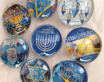 Hanukkah glass magnets, Hanukah magnets, Chanukah magnets, Hanukkah decorations, holiday decor, winter holiday magnets