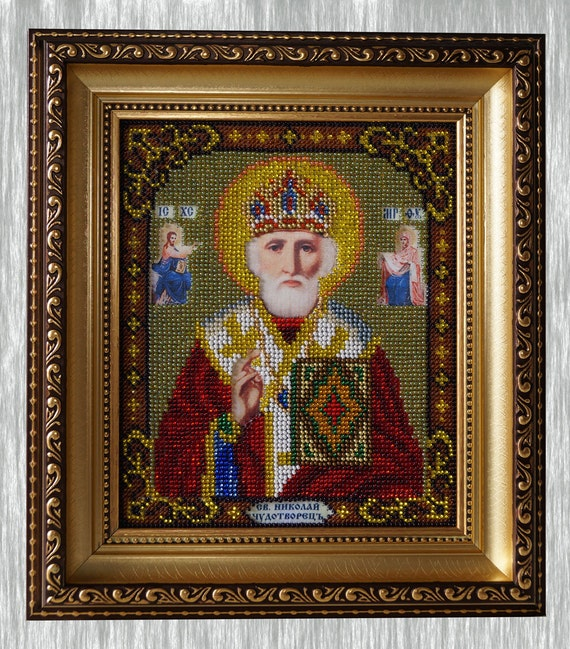 Nicolas The Miracle-Worker orthodox Christian bead embroidered icon
