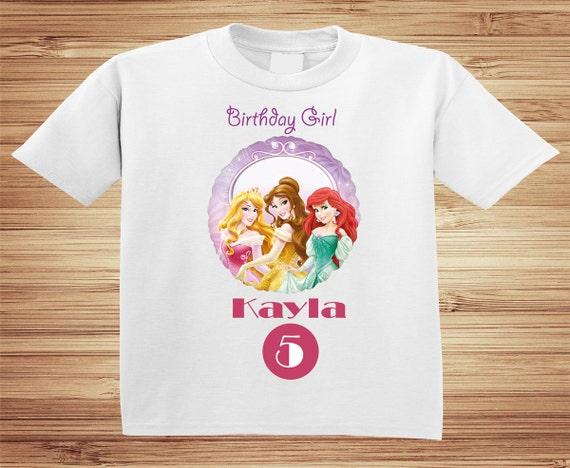 Personalized Disney Princesses Birthday Shirt - tshirt custom cinderella belle jasmine
