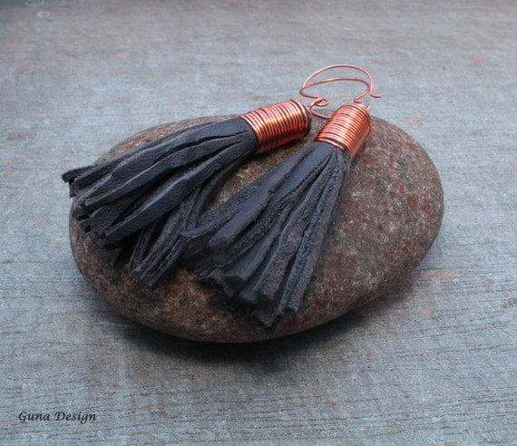 Tribal Tassel Dangle Earrings from Dark Grey Blue Leather with Copper Fixing by GunaDesign