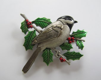 JJJonette Chickadee Perched on Holly Branch Brooch Pin