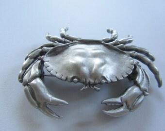 Large JJ Jonette Life Like Silver Crab Brooch
