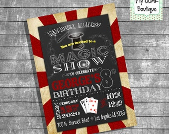 Magic Show invitation birthday party invitation magic show invite digital printable invitation you print invitation 13339