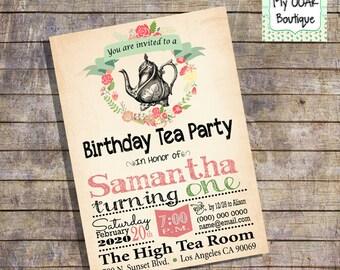 Birthday Tea Party invitation shabby flowers birthday invite peach vintage teapot digital printable invitation 13375