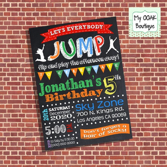 Trampoline Party Invitations: Trampoline Birthday Party Invitation Jump Invite Chalkboard